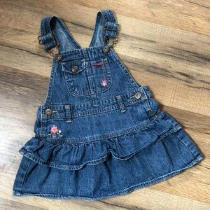 Oshkosh Denim Jumper, Embroidered Flowers 24M